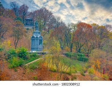 Scenic view of Saint Vladimir Monument on Vladimir's Hill at autumn day, Kyiv, Ukraine. Lush autumn foliage. Saint Vladimir Monument is popular touristic symbol of Kyiv, capital of Ukraine