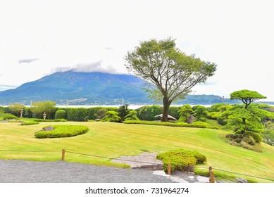Scenic View of Sakurajima Island From Senganen Garden in Kagoshima