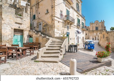"Scenic view of the ""Sassi"" district in Matera, in the region of Basilicata, in Southern Italy."