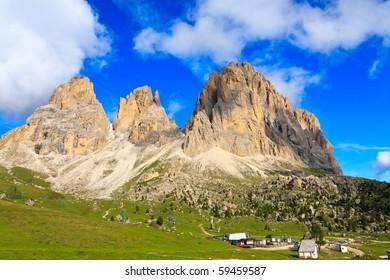 Scenic view of Sassolungo mountain in Dolomites.