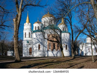 Scenic view of Saviour's Transfiguration Cathedral in Chernihiv, Ukraine at sunny spring day. Transfiguration Cathedral in Chernihiv was built in 11th century and it is a popular tourist attraction