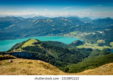 Scenic view from Schafberg over Lake Wolfgang and the mountains of Salzkammergut