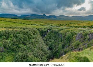 scenic view of Scotland with mountains and green valleys on the Atlantic ocean in summer