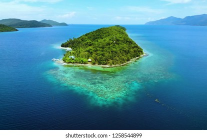 Scenic view of sea bay and mountain islands in Philippines