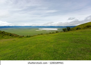 Scenic view of seasonal salt lake, Lake Magadi, also called Makat, center of Ngorongoro Crater Conservation Area, view from edge of crater in Tanzania, East Africa