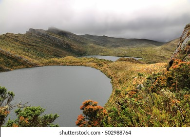 Scenic view of Siecha Lagoon, Chingaza National Park, Colombia. The park is located in the Eastern Cordillera of the Andes, in the northeast of Bogota in the departments of Cundinamarca and Meta.