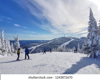 Scenic view of a ski resort Mont-Tremblant in Quebec, Canada on a sunny beautiful day.
