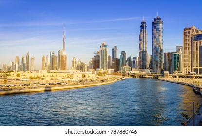 Scenic view of skyline of Dubai's downtown from Dubai Canal