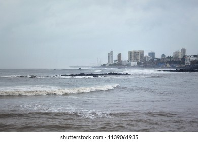 A scenic view of the skyline of Mumbai city , INDIA from the famous Haji Ali Dargah.