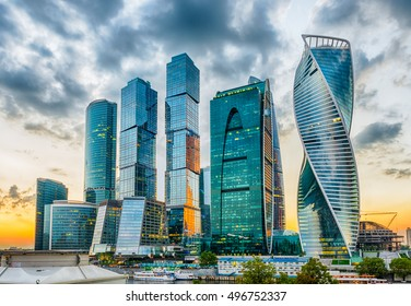 Scenic view with skyscrapers of the Moscow City International Business Center, Moscow Skyline, Russia