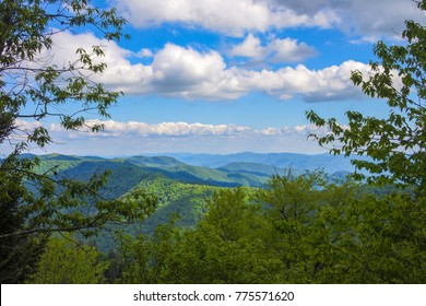 Scenic view of the Smoky mountains National Park during a Summer day with blue sky