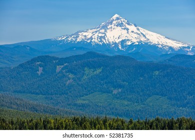 Scenic view of snow capped high mountain with forest in foreground