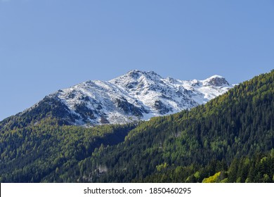 Scenic view of snowcapped mountains of Valtellina valley, Lombardy region, Sondrio province, Italy