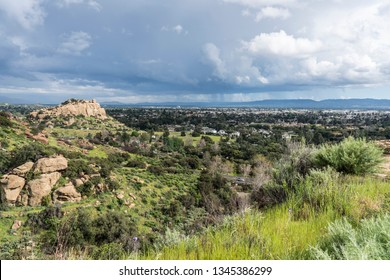 Scenic view of spring storm clouds, Stoney Point Park and the San Fernando Valley near Topanga Canyon Blvd, Porter Ranch and Chatsworth in the City of Los Angeles, California.