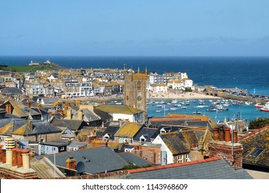Scenic view of St Ives and St La's church, north Cornwall, UK