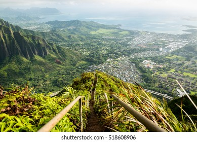 Scenic view from Stairway to Heaven in Oahu island Hawaii