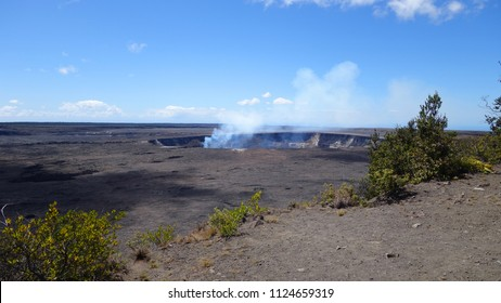Scenic view of steaming Kilauea crater in Volcanoes National Park (Big Island, HI, USA)