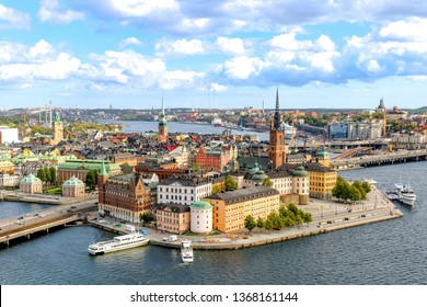 Scenic view of Stockholm's Old Town (Gamla Stan), taken from the top of the observation deck at the City Hall's Tower.
