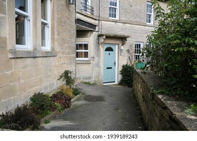 A Scenic View of a Stone Pathway Running past Old Terraced Cottage Houses in a Beautiful English Town - Namely the Historic Town of Bradford on Avon in Wiltshire England