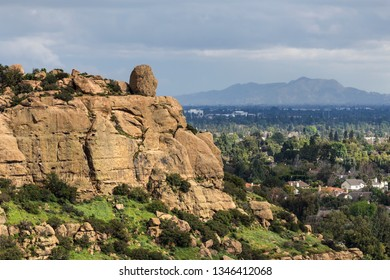 Scenic view of Stoney Point with the San Fernando Valley and Griffith Park in background.  The popular rock climbing park is near Topanga Canyon Road in Los Angeles, California.
