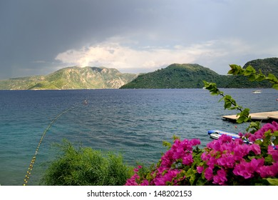 scenic view of stormy clouds, sea and mountains at Marmaris
