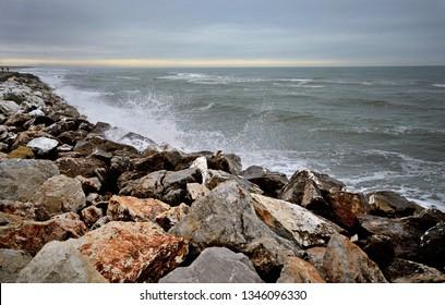 scenic view of a stormy sea along the Versilia shoreline on wintertime