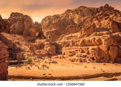 Scenic view of the Street of Facades and surrounding mountains, Petra, Jordan