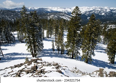 Scenic view from the summit on Lake Tahoe alpine resort in Sierra Nevada