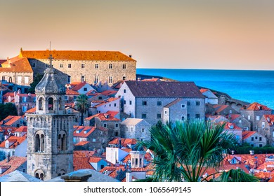 Scenic view at sunrise in medieval town Dubrovnik, croatian travel places. / Selective focus.