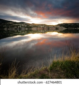 scenic view of a sunrise on hauser lake outside of helena montana, us