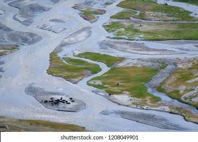Scenic view of Suru River Valley at Rangdum village, Kargil district, Ladakh region, India.