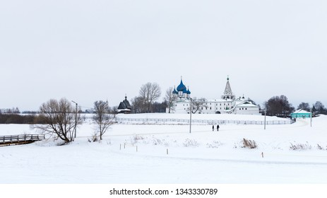 Scenic view of the Suzdal Kremlin in winter on the other side of the river, Russia