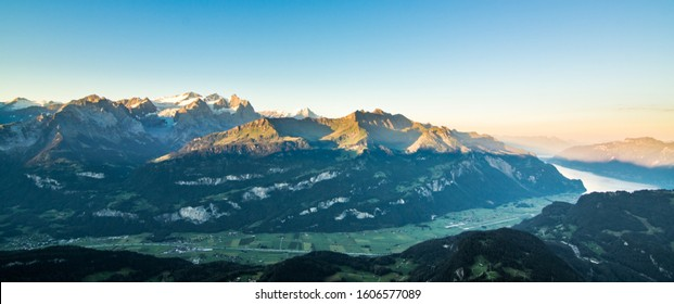 scenic view of the swiss alps during late summer or autumn in the evening