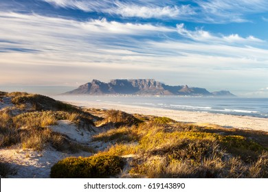 scenic view of Table mountain from blouberg cape town south africa