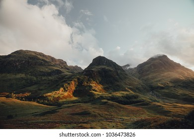 Scenic view of Three Sisters, situated in Glencoe in a Scottish Highlands area. Scotland, UK.