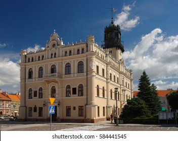 Scenic view of Town Hall and market square in Jaroslaw. Poland at sunny day with picturesque sky.