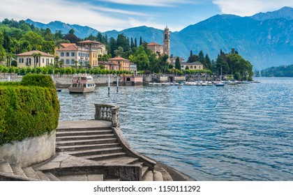Scenic view in Tremezzo, with Villa Sola Cabiati stairs and San Lorenzo Church in the background. Lake Como, Lombardy, Italy.