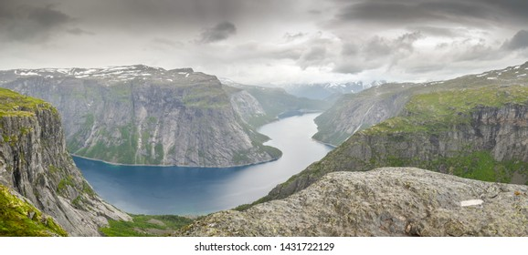 Scenic view from Trolltunga south Norway