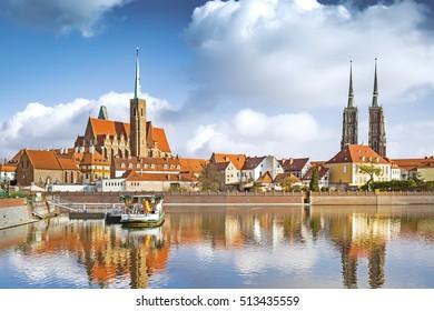 Scenic view of Tumski island in Wroclaw, Poland