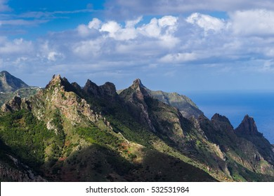 Scenic view of typical dramatic mountains in Anaga National Park, Tenerife, Canary Islands, Spain.
