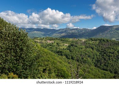 Scenic view of the typical landscape in the Ardeche district, France