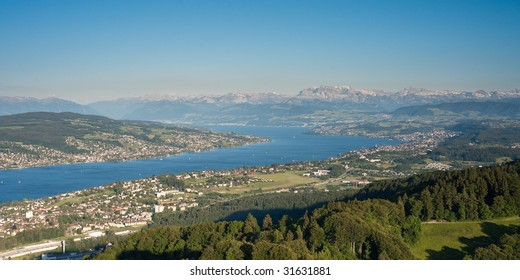 scenic view from uetliberg, z?rich, switzerland with lake zurich and mountains on a clear day