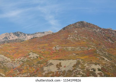 Scenic view of a Utah mountainside in autumn on a clear day