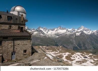 Scenic view of Valais (Wallis) Alps mountains from Gornergrad observatory, Zermatt, Switzerland.