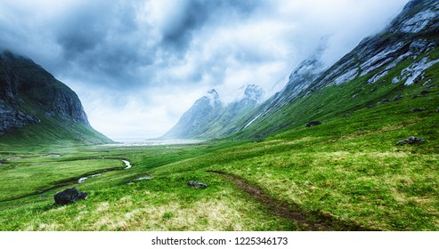 Scenic view of a valley leading to Horseid beach on the Lofoten Islands, Norway.