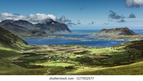 Scenic view from the Vestvagoya island on the Lofoten archipelago, Norway on a summer day.
