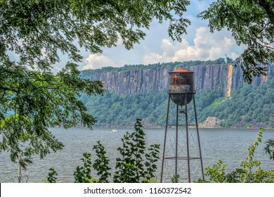 Scenic view of vintage water tower overlooking the Hudson River in New York