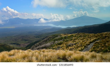 Scenic view of volcanic mountains along Tongariro Alpine Crossing in New Zealand
