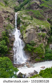 Scenic view of waterfall in Chamche after completion of Manaslu Circuit Trek.