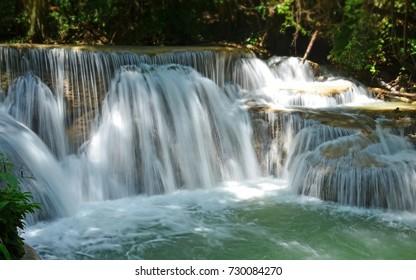 Scenic view of waterfall in the forest,huai mae khamin waterfall,kanchanaburi,thailand.